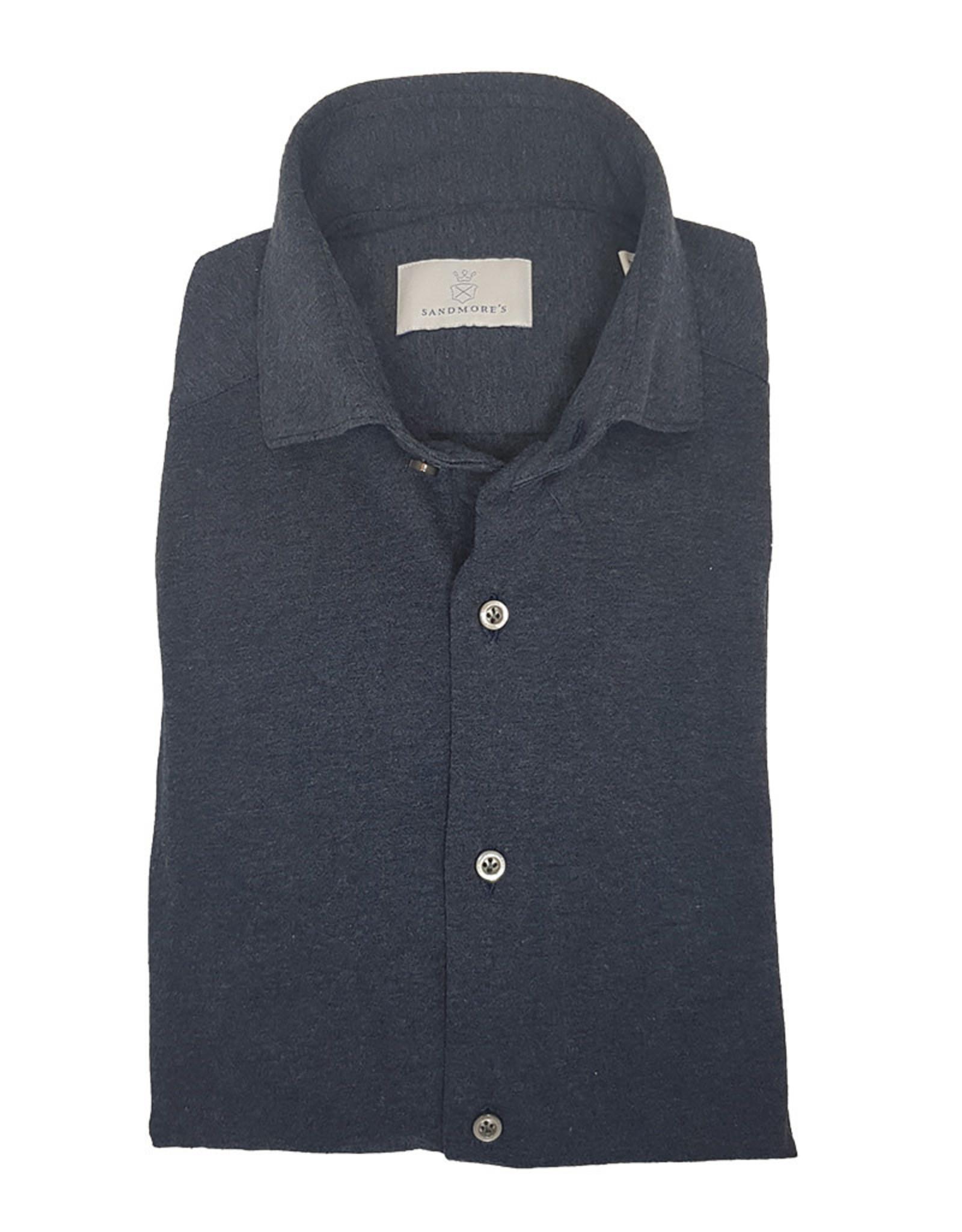 Ghirardelli Sandmore's hemd jersey donkerblauw Semi-slim  J553