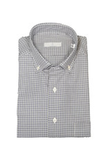 Ghirardelli Sandmore's hemd blauw-grijs geruit  Fitted body  E1073