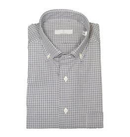 Ghirardelli Sandmore's hemd blauw-grijs geruit  Fitted body