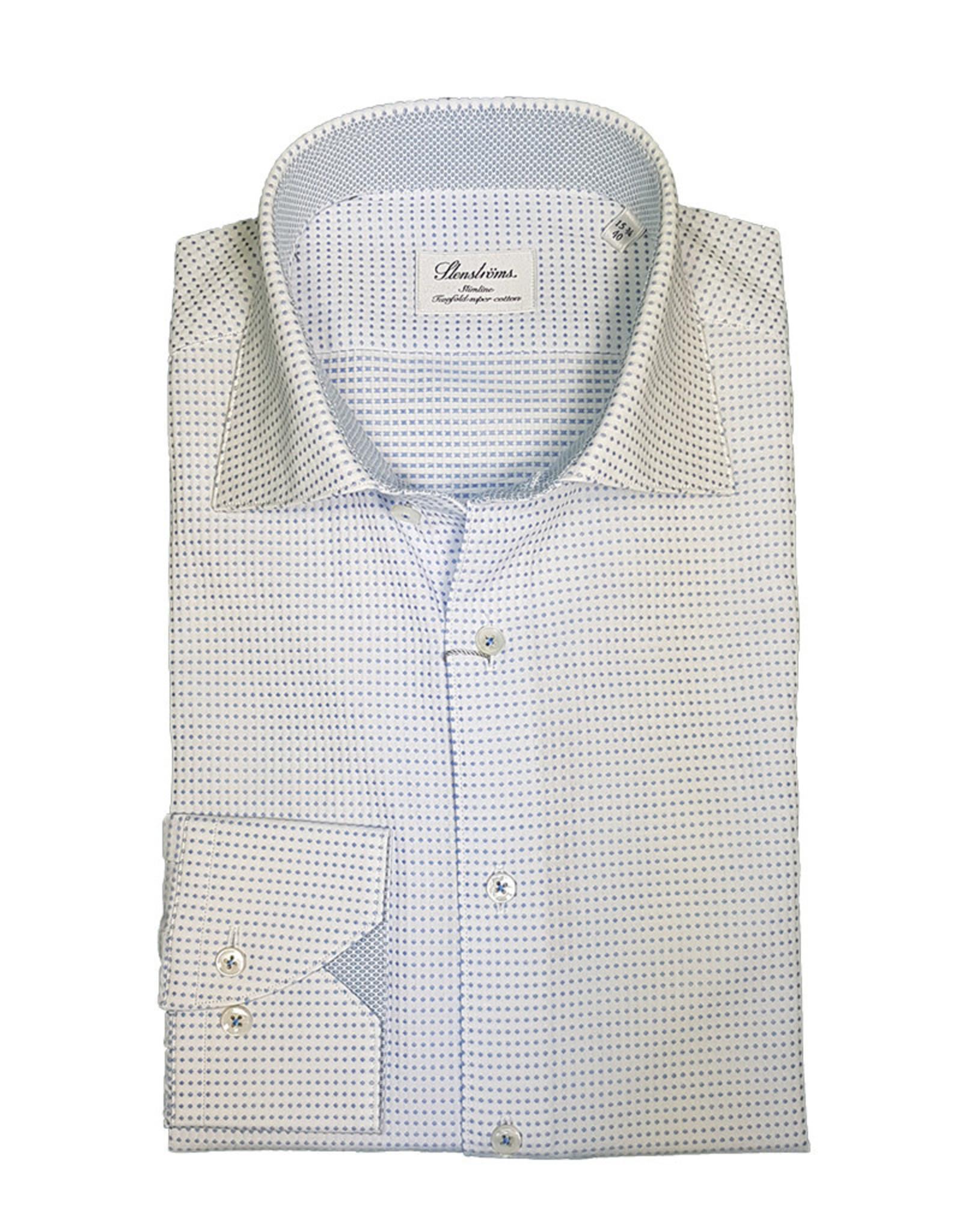 Stenströms Stenströms hemd wit met blauwe stippen Slimline 784901-7123/001