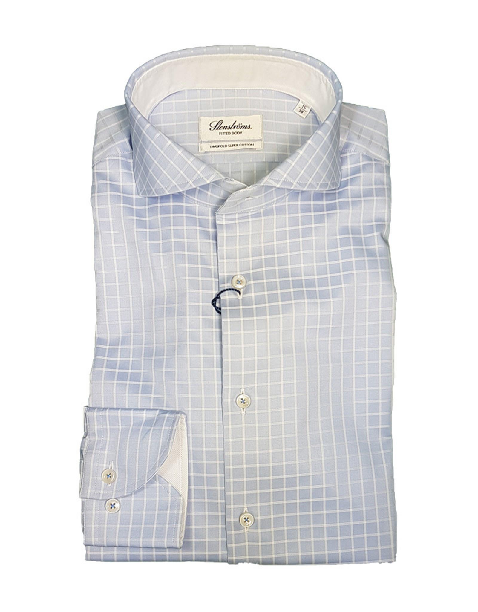 Stenströms Stenströms hemd lichtblauw geruit Fitted body 684311-5286/103