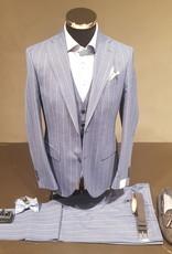 Latorre Gabiati kostuum blauw gestreept 3-delig R90212/2