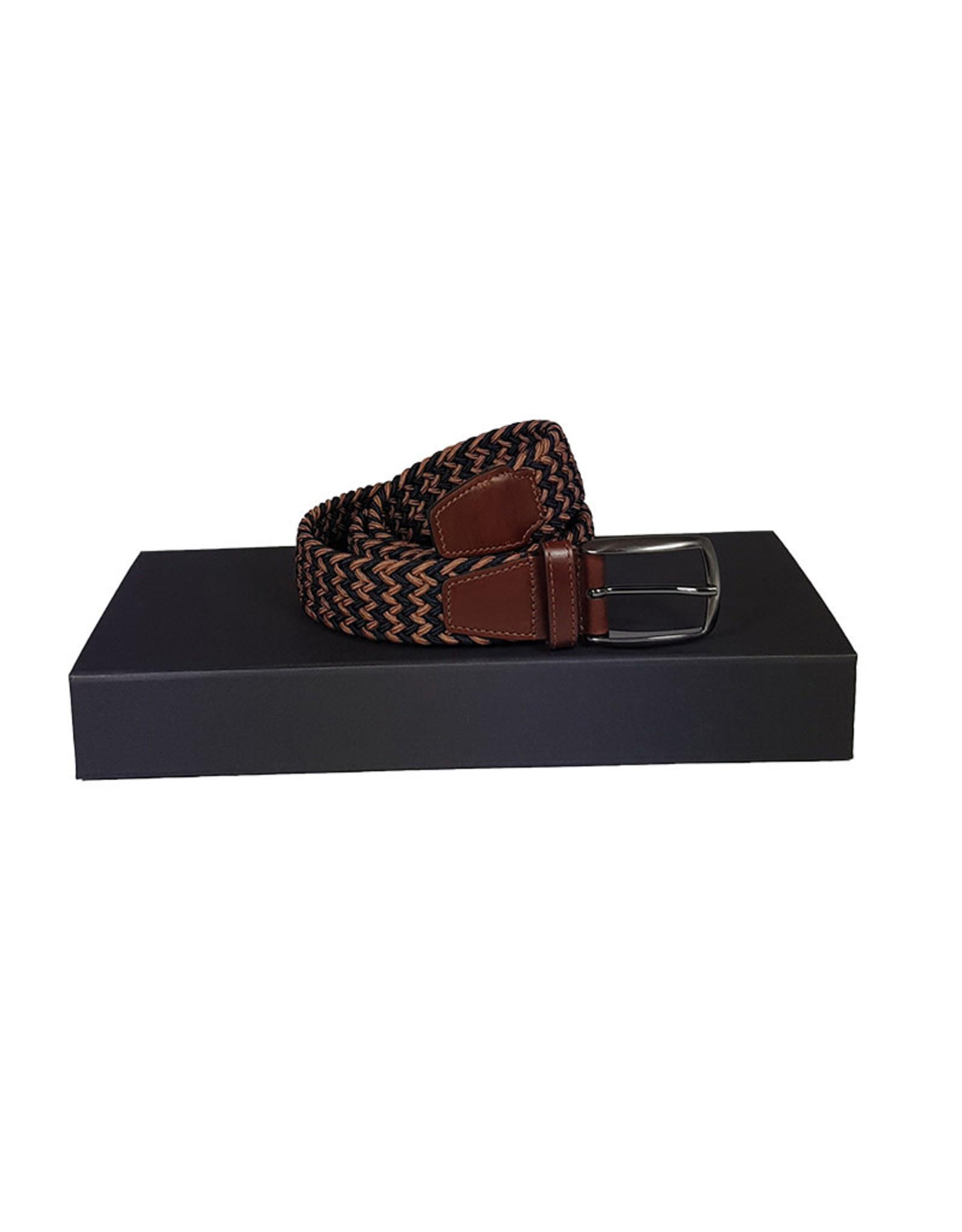 Belts+ Belts+ riem elastisch blauw-bruin Alonso 19628/005