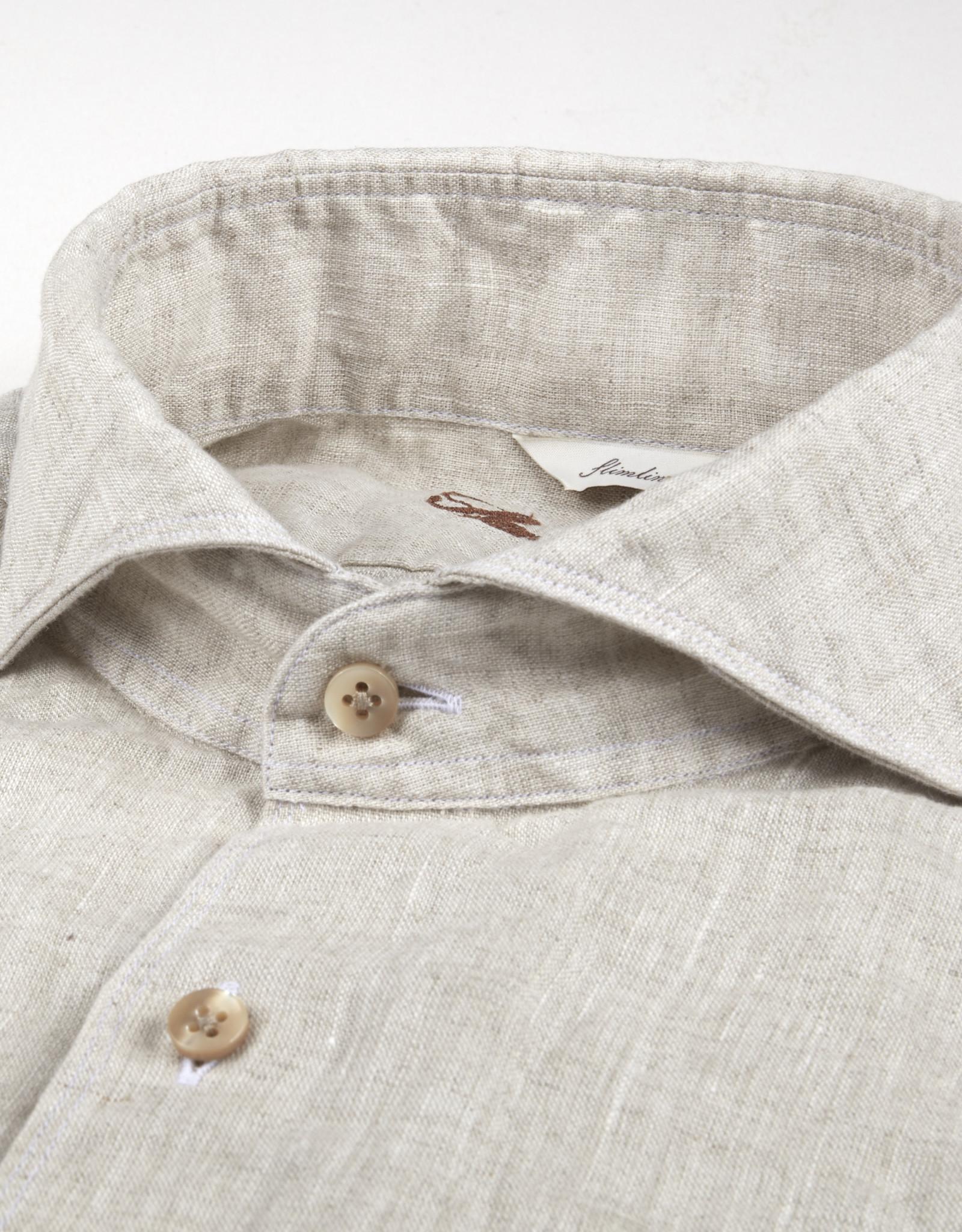 Stenströms Stenströms hemd linnen beige Fitted body 675221-7970/210