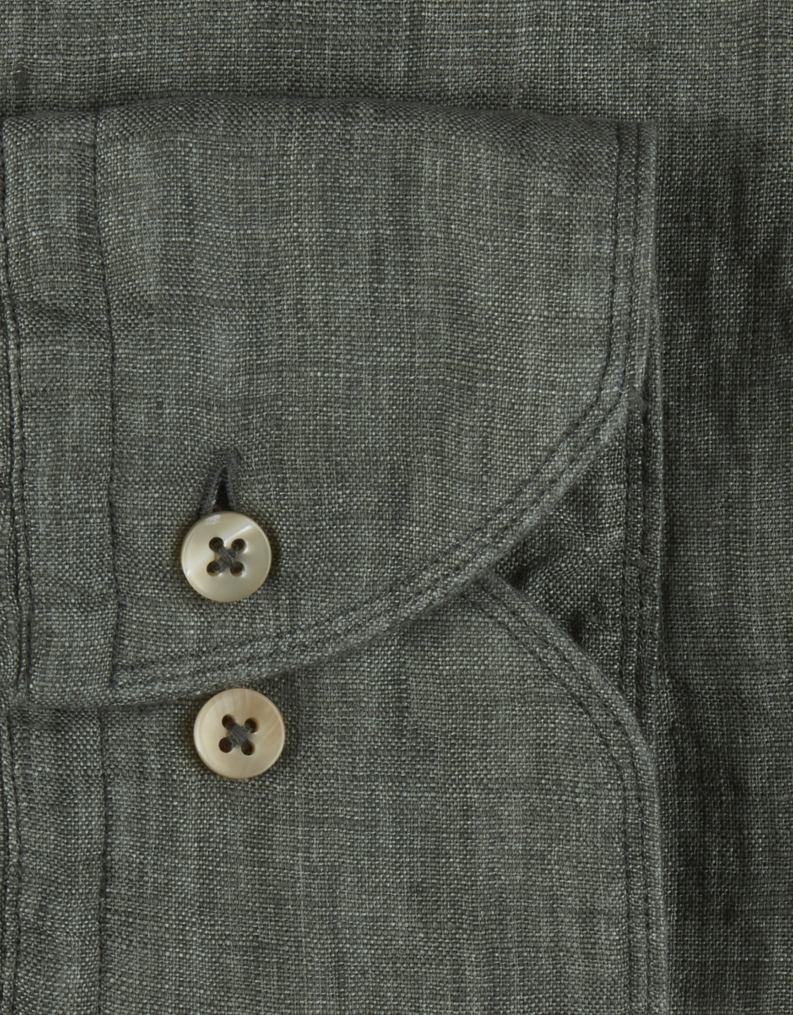 Stenströms Stenströms hemd linnen groen Fitted body 675221-7970/420