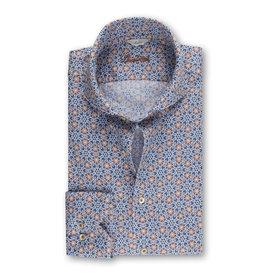 Stenströms Stenströms hemd linnen blauw motief  slimline