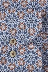 Stenströms Stenströms hemd linnen blauw motief Fitted body 675221-8184/001