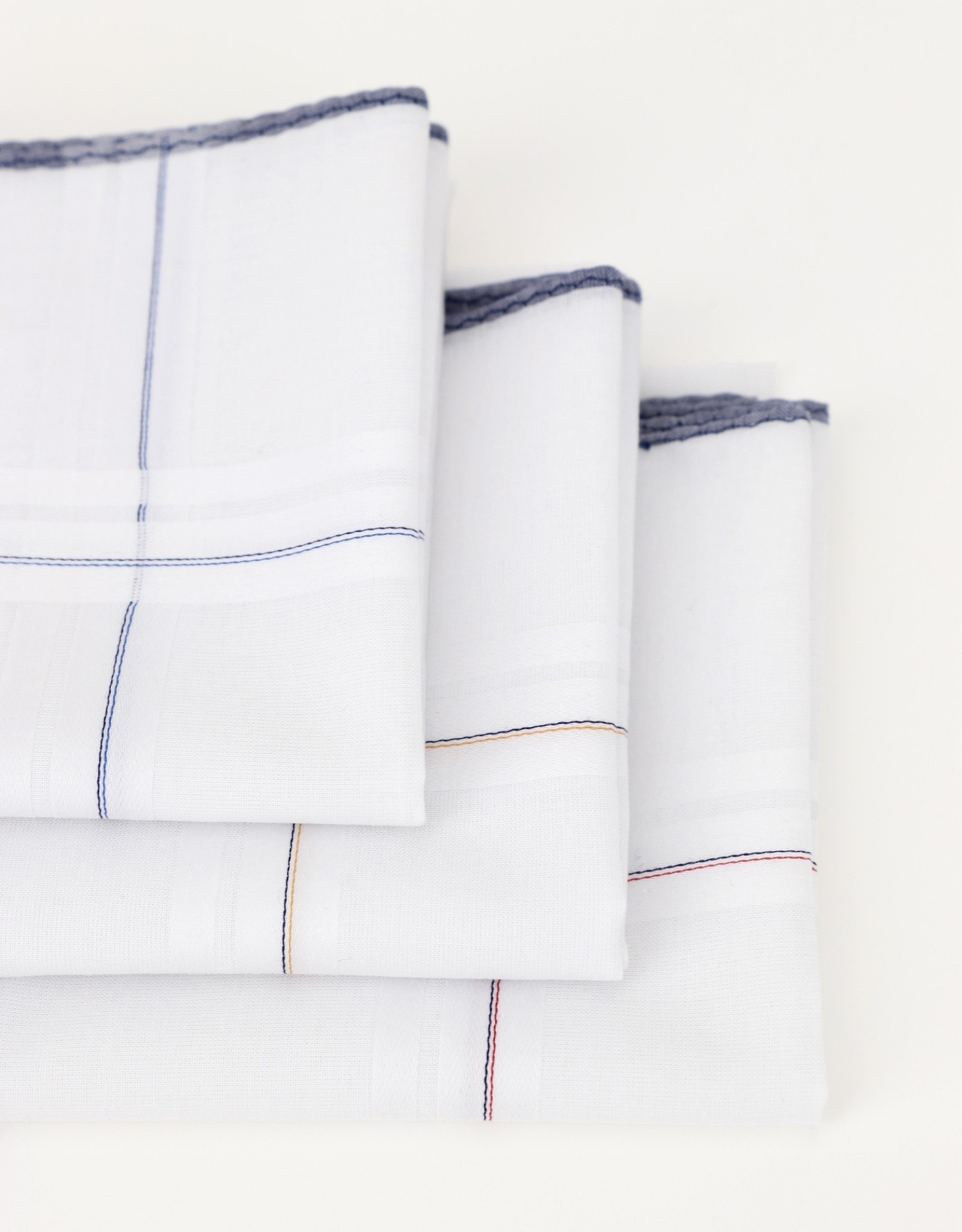 Perofil Perofil zakdoeken wit met blauwe rand 3 paar Fazzoletti