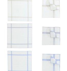Perofil Perofil zakdoeken wit met gekleurde rand 3 paar Fazzoletti