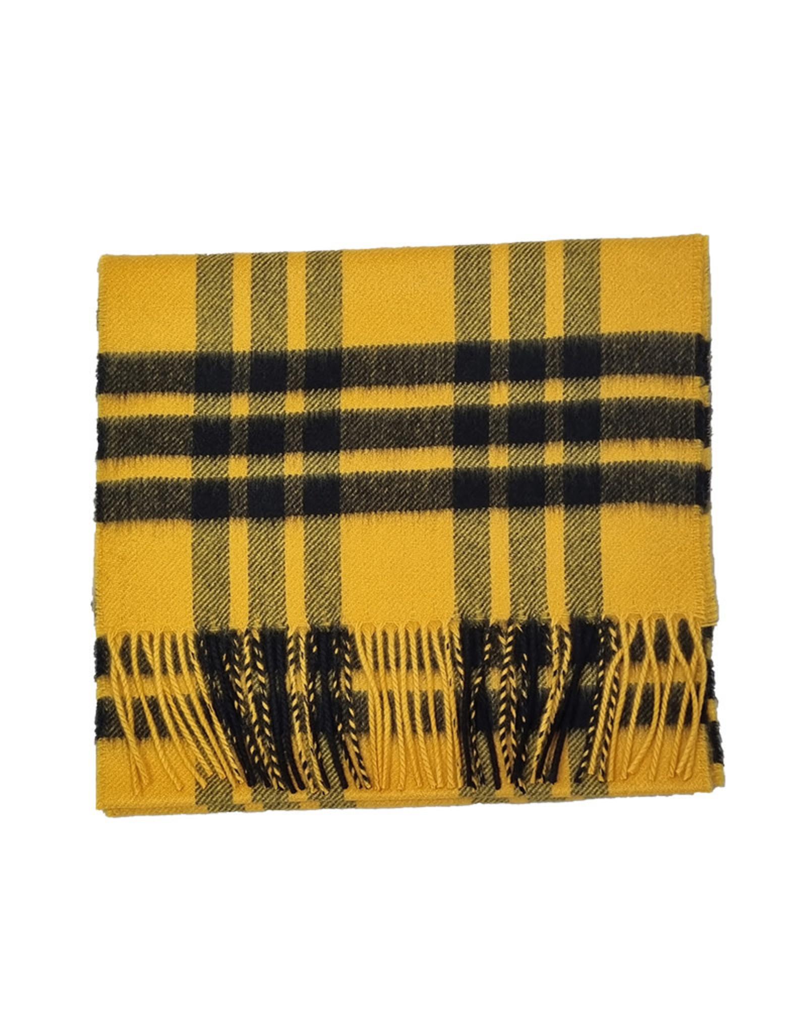Johnstons of Elgin Johnstons of Elgin sjaal cashmere geel-zwart ruit