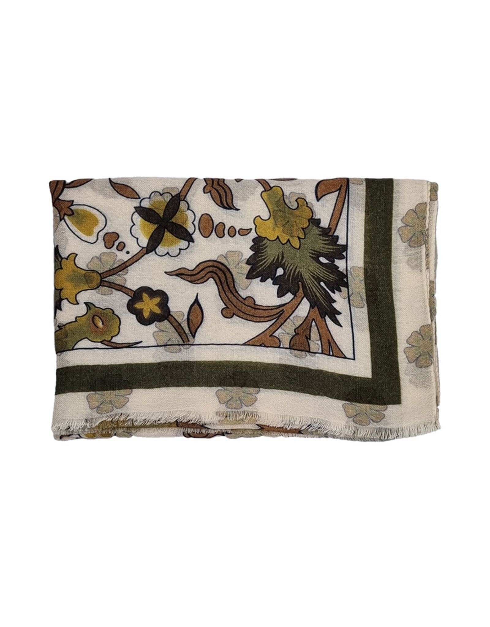 Calabrese Calabrese sjaal ecru-groen fantasie 2000592/025