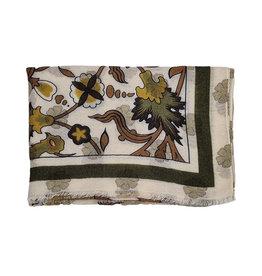 Calabrese Calabrese sjaal ecru-groen fantasie