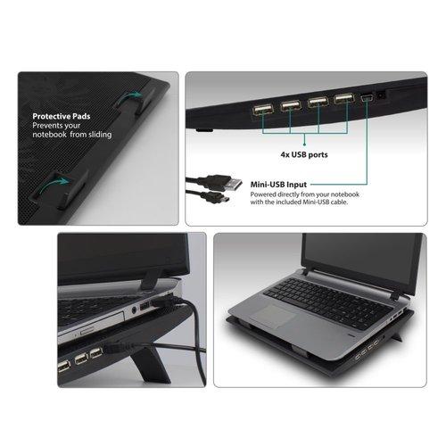 Ewent EW1253 notebookstandaard met koeling   17 inch
