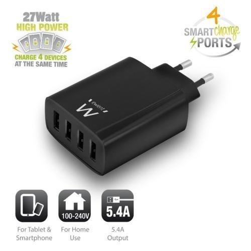 Ewent USB Charger 110-240V 4 port smart charging 5.4A black