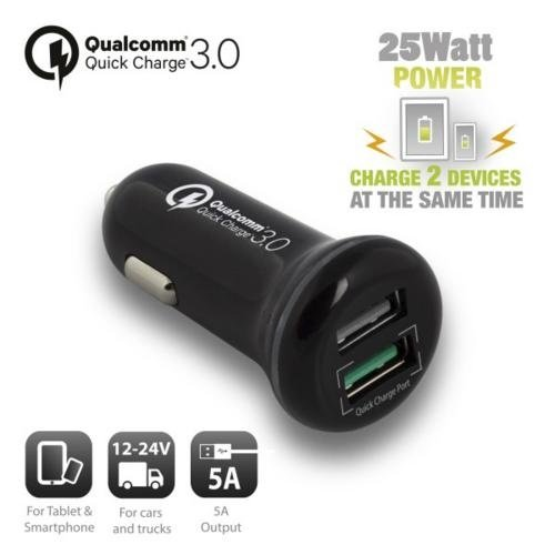 Ewent USB Car Charger two port 5A Qualcomm QC3.0