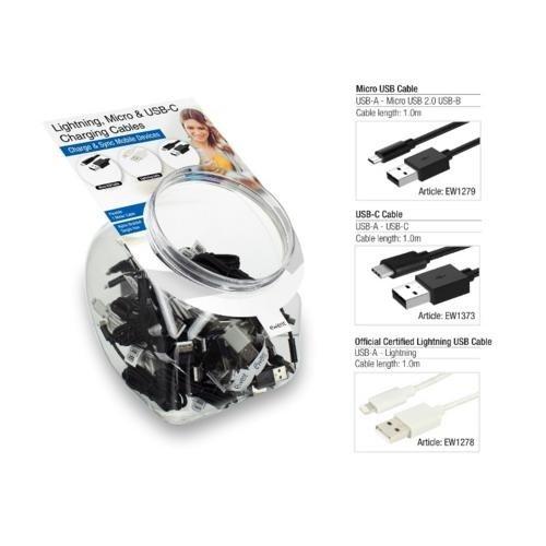 Ewent 10 x USB-C to USB-A, 10 x Apple Lightn  /10x micr usb