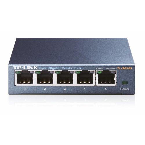 TP-Link TP-LINK TL-SG105 Unmanaged Gigabit Ethernet (10/100/1000) Zwart