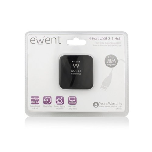 Ewent USB 3.1 Gen 1 (USB 3.0) Hub 4 port with Power adapter