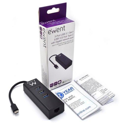 Ewent USB-C Hub met 3xUSB-A en Gigabit netwerk poort
