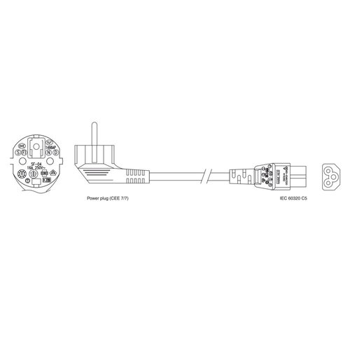 Ewent 230V Connection Cable Schuko male (angled) - C5 3.0 M