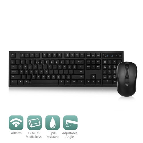 Ewent Wireless keyboard and mouse bundle US lay-out
