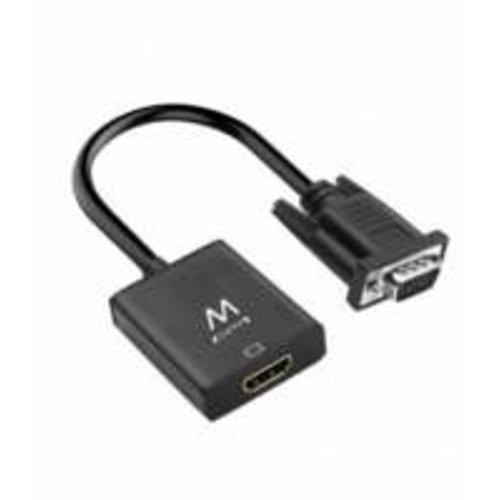Ewent kabeladapter/verloopstukje VGA-15pin HDMI 3.5mm zwart