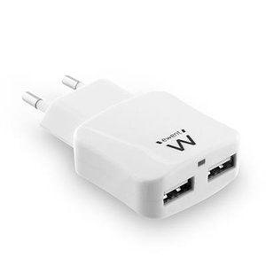Ewent EW1302 USB lader, 2 poort, 2.4A, Smart IC, wit