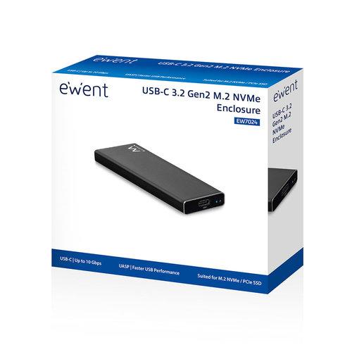 Ewent EW7024 Draagbare USB-C 3.1 Gen2 M.2 NVMe/PCIe SSD Behuizing