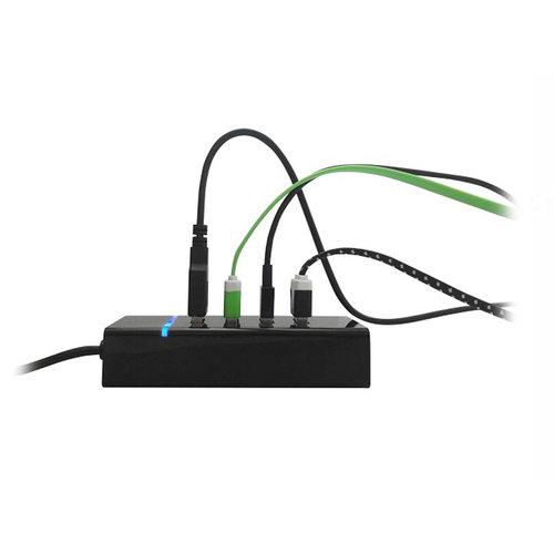 Ewent EW1133 3.0 USB Hub (USB 3.1 Gen1), zwart
