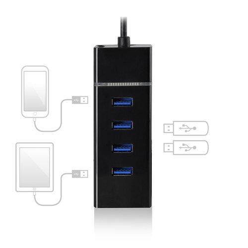 Ewent EW1137 4-Poorts USB 3.1 Gen 1 (USB 3.0) Hub Type-C