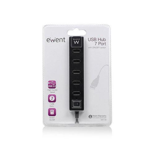 Ewent EW1130 7-Poorts USB 2.0 Hub met aan/uit knop