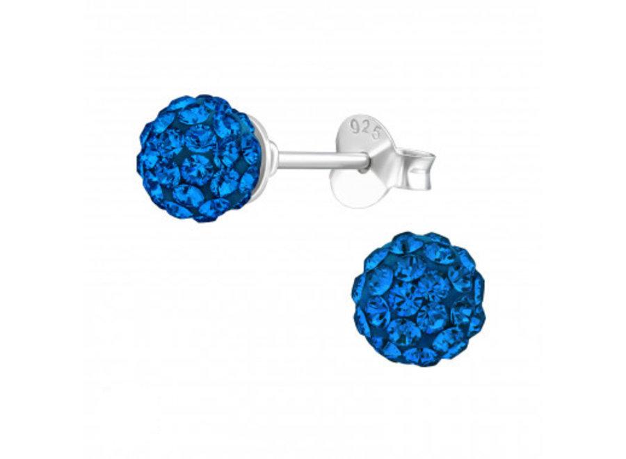 Silver ear studs with Swarovski crystals