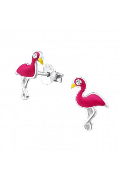 Silver ear studs flamingo