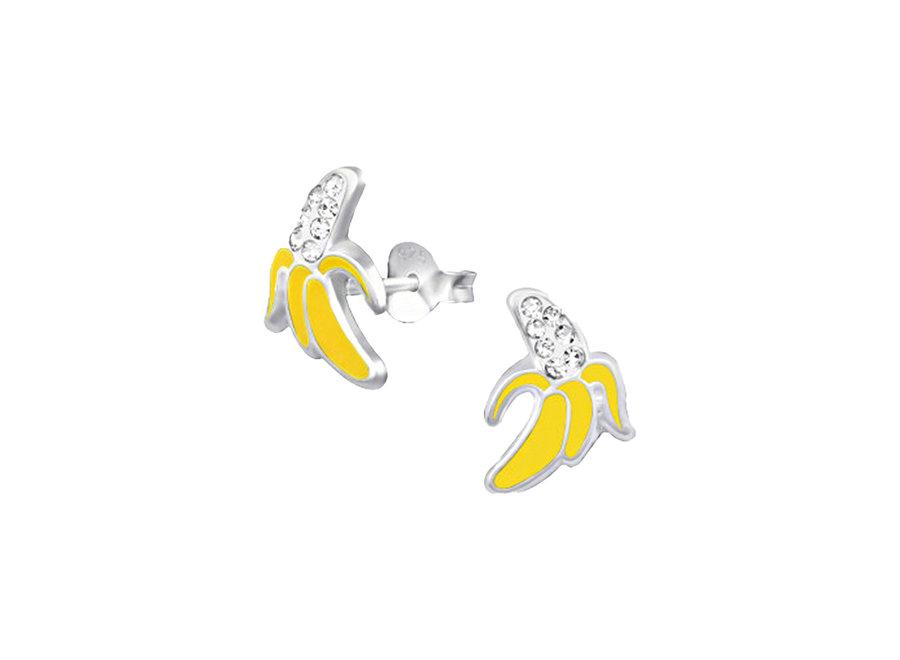 Silver ear studs banana