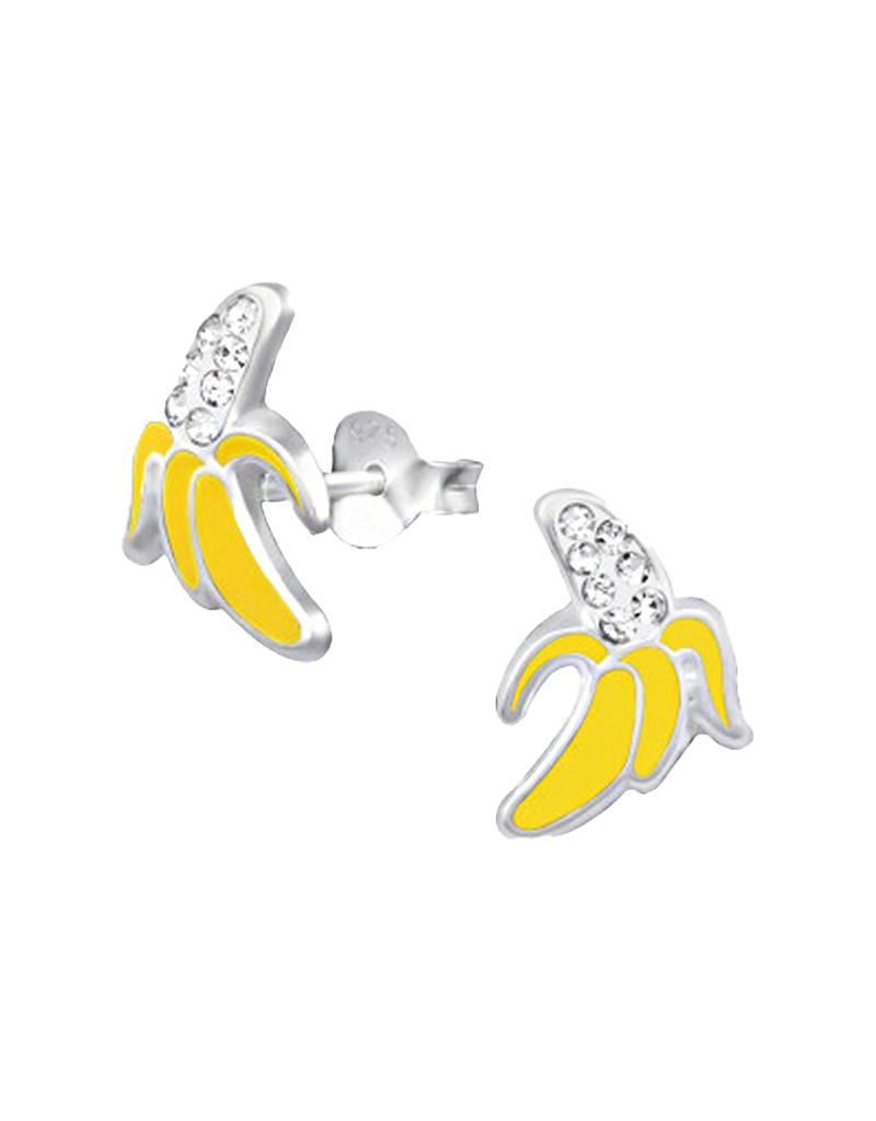 Silver ear studs banana-1