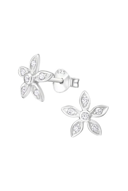 Oorstekers bloem met zirkonia steentjes