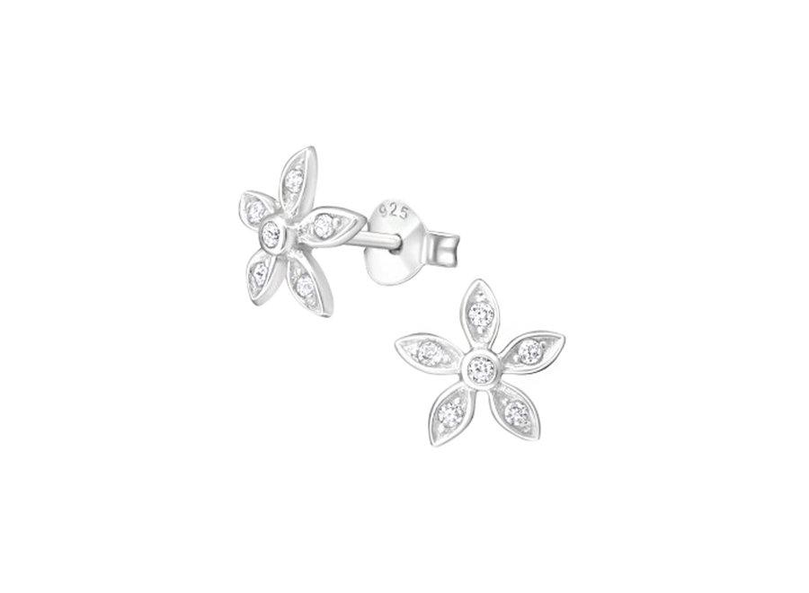 Ear studs flower with zirconia stones
