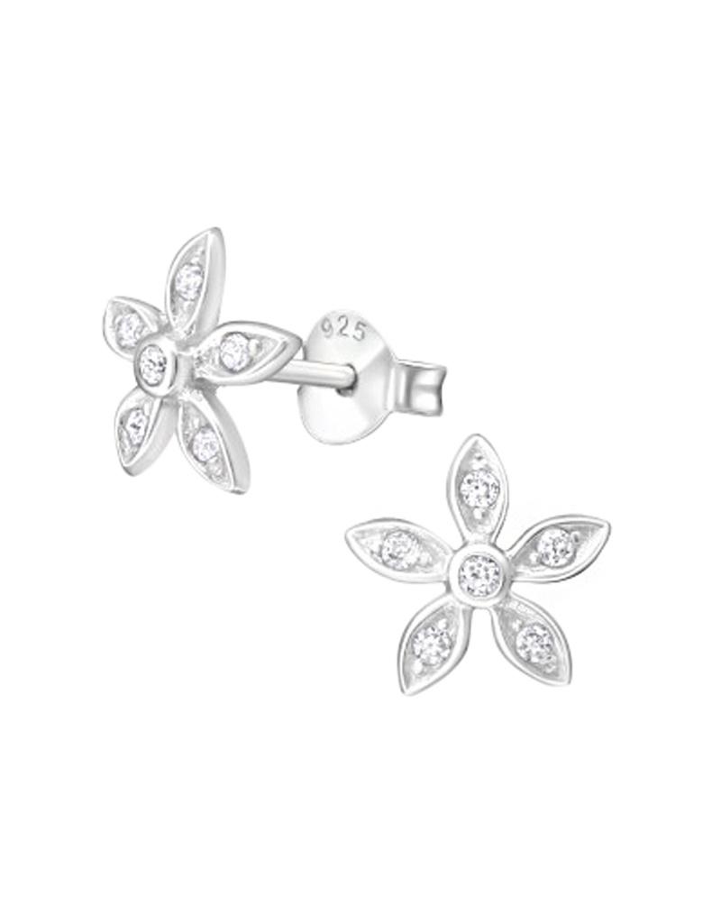 Oorstekers bloem met zirkonia steentjes-1