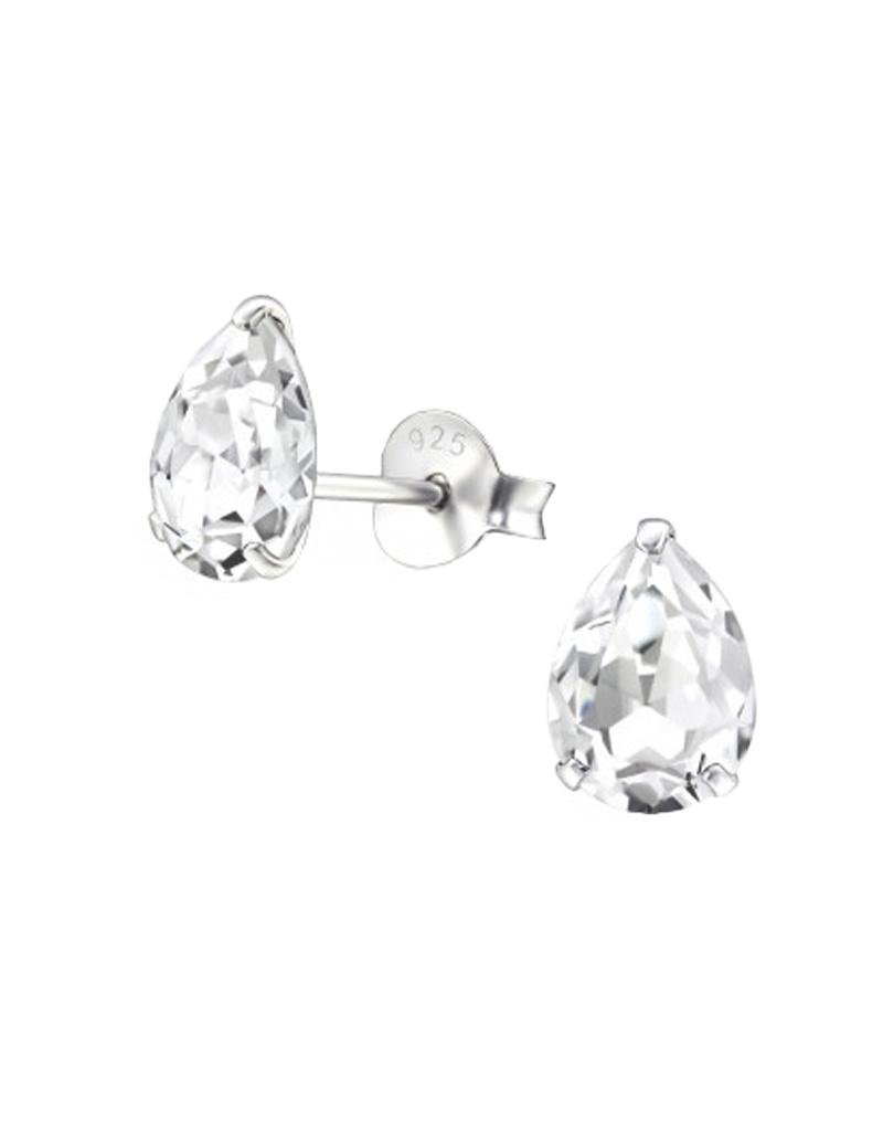 Silver ear studs with zirconia stone-4