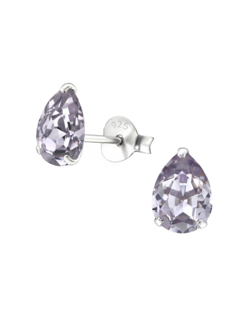 Silver ear studs with zirconia stone-6