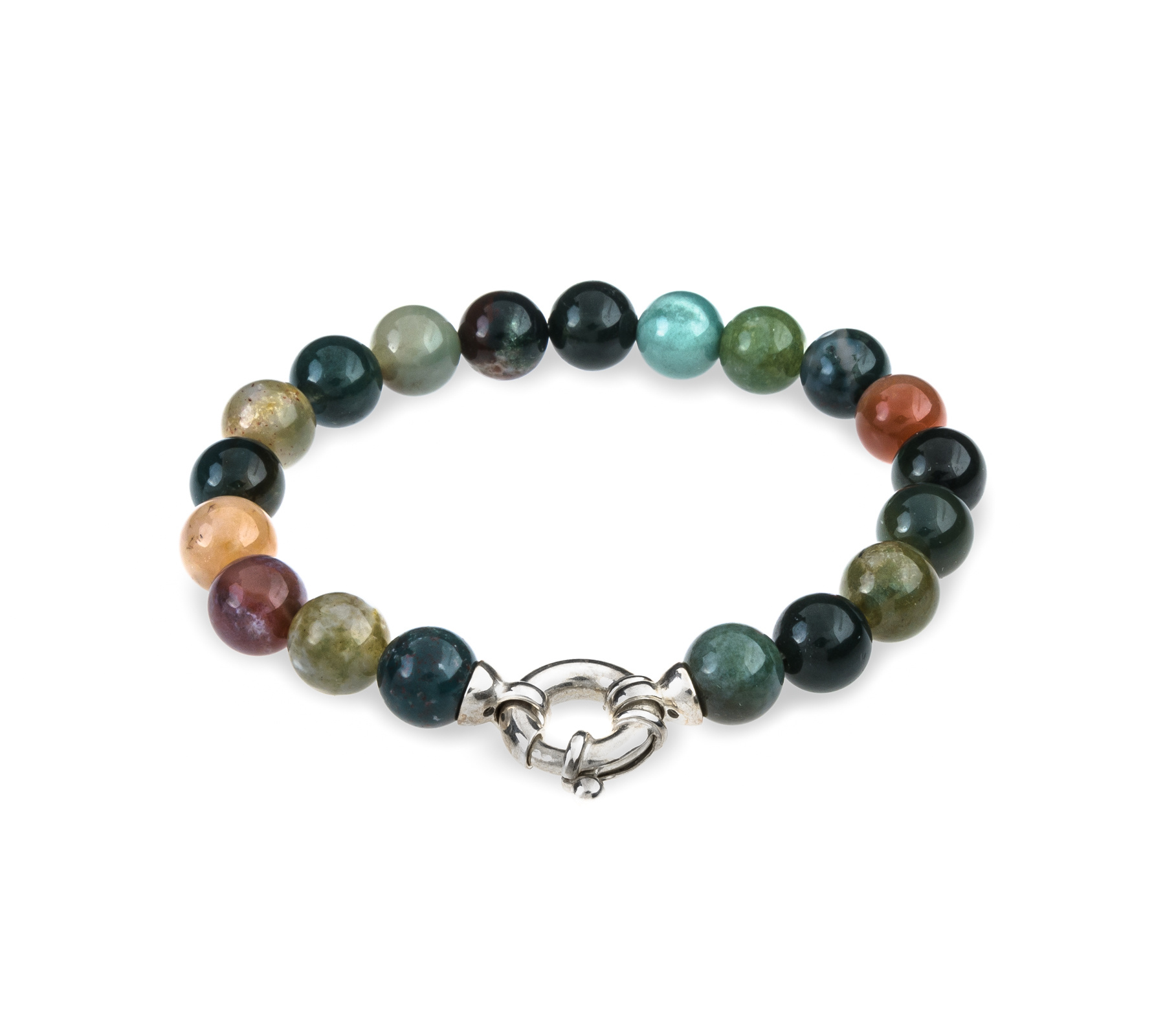 Gemstone bracelet Indian agate with lock-1