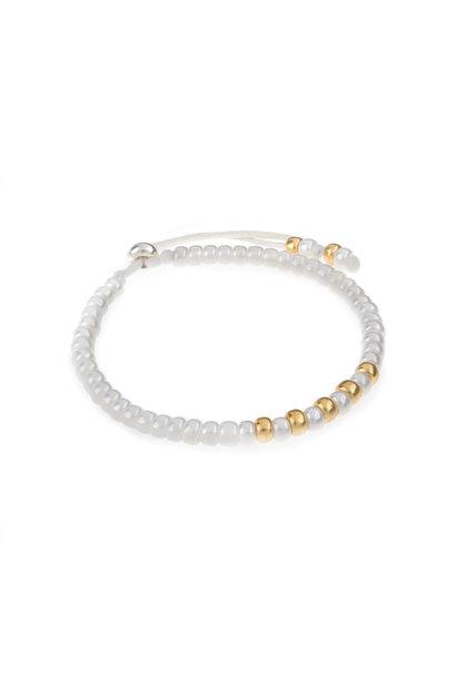 Miyuki bracelet white with gold