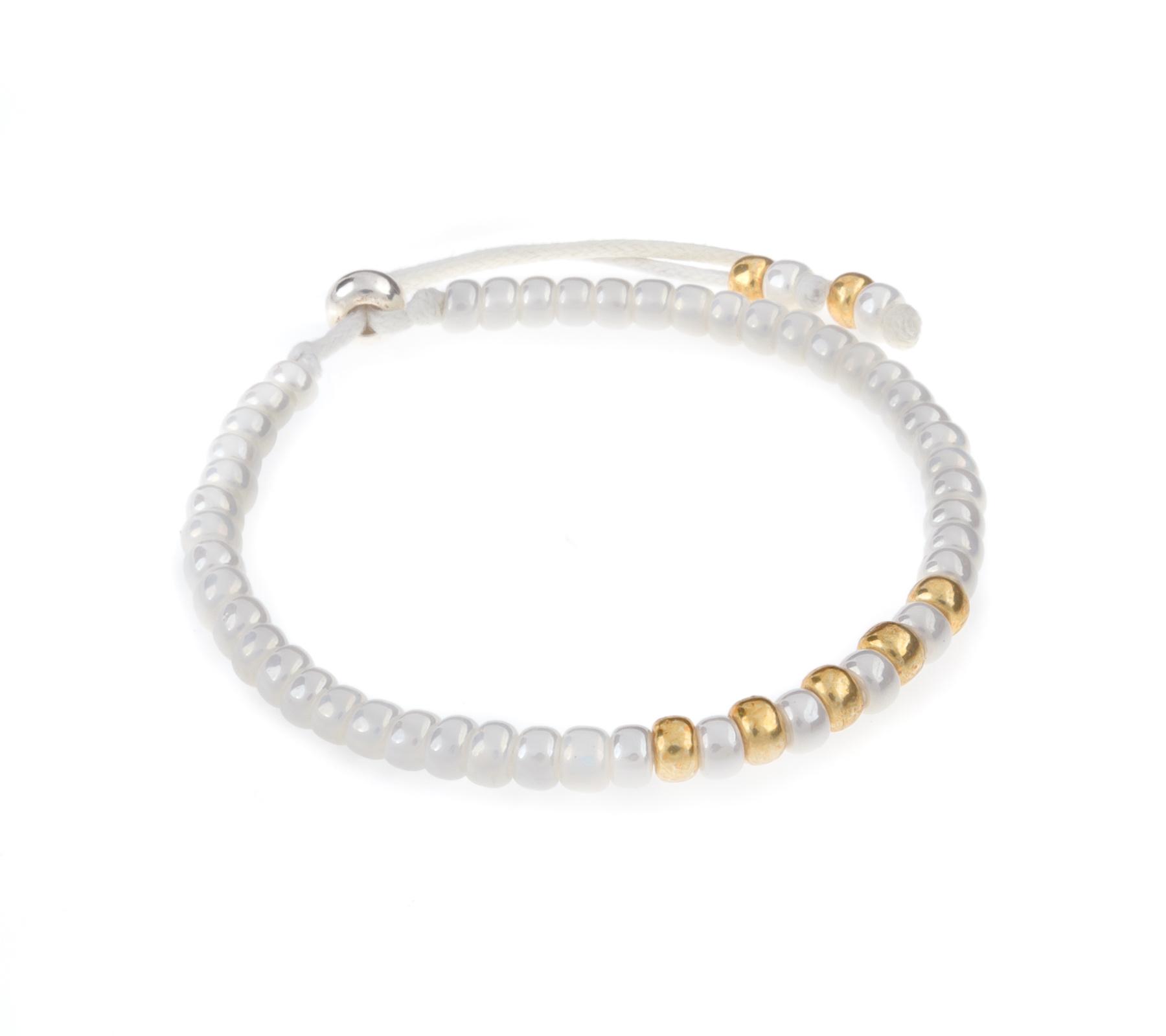 Miyuki armband wit met goud-1