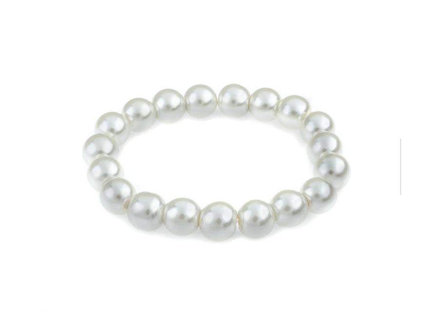 Glasparel armband wit