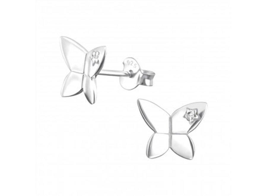 Zilveren vlinder oorstekers met zirkonia steentje