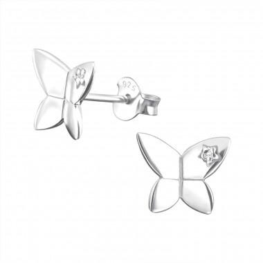Zilveren vlinder oorstekers met zirkonia steentje-1
