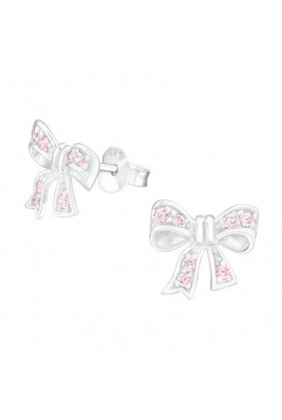 Silver ear studs bow with zirconia stones