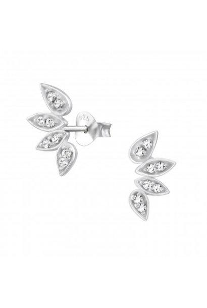 Silver cuff ear studs leaf