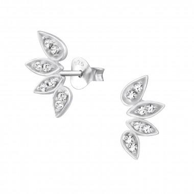 Silver cuff ear studs leaf-1
