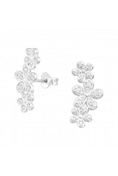 Silver cuff ear studs flowers